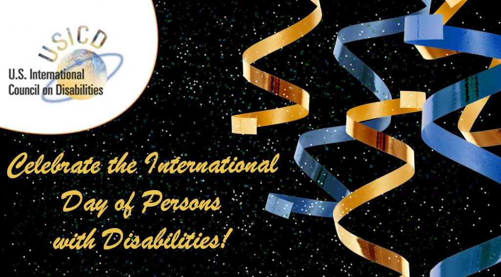 The USICD Logo with the words Celebrate the International Day of Persons with Disabilities
