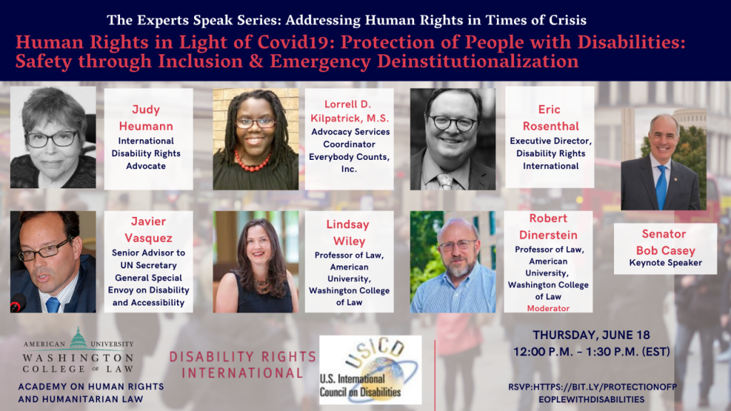 Human Rights in Light of COVID19: Protection of People with Disabilities: Safety through Inclusion & Emergency Deinstitutionalization Event Flyter
