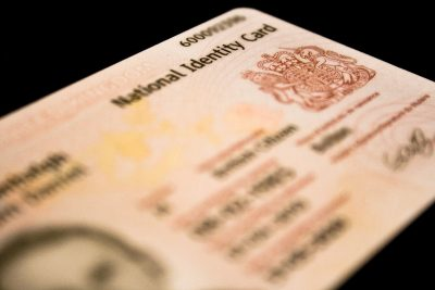 Blurred photo of a national identification card
